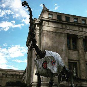 Field Museum dinosaur sporting Cubs jersey